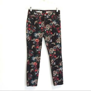 Anthro Pilcro Floral Skinny Mid Rise Ankle Jeans